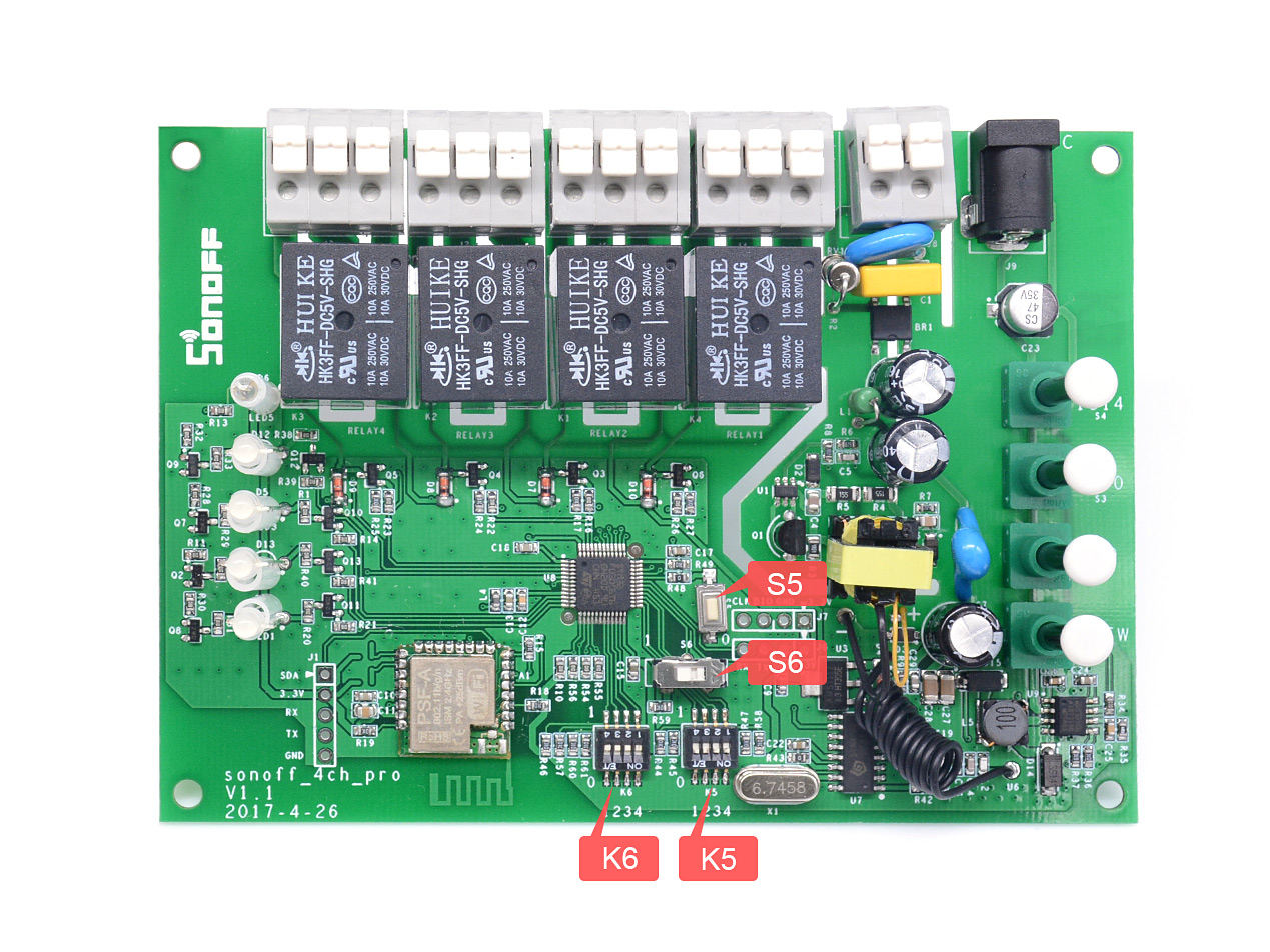Sonoff 4ch Pro R2 User Guide Ewelink Electronic Components Switches Pull Cord Rapid Online As You Can See From The Image There Are S5 S6 K6 And K5